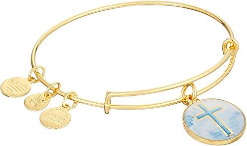 Alex and Ani Art Infusion Cross Expandable Rafaelian Gold-Tone Bangle Bracelet