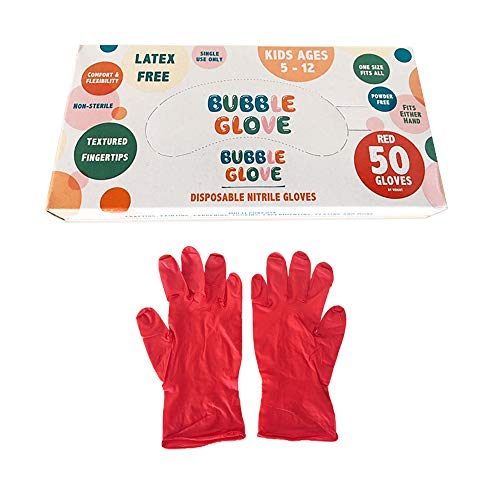 Bubble Glove: Best Disposable Nitrile Gloves for Kids (Latex Free, Powder Free, odorless) - Prevent Skin Allergy or Irritation for Multipurpose Use (Red, 50)