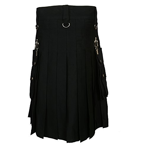 Black Fashion Gothic Kilt With Silver Chains (Belly Button 36) by Scottish Designer (Image #2)