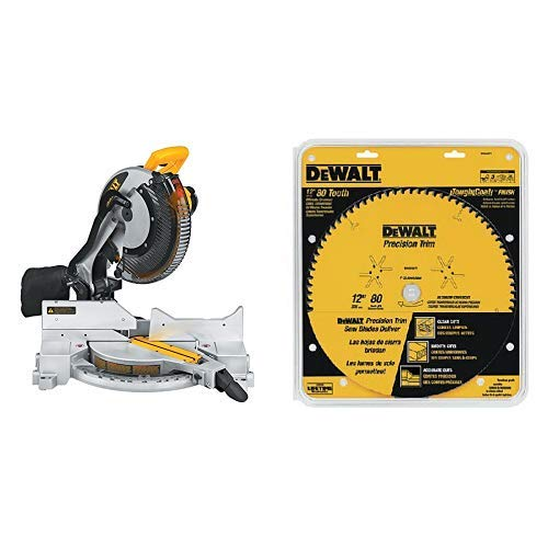 DEWALT DW715 15-Amp 12-Inch Single-Bevel Compound Miter Saw with DW3232PT Precision Trim 12-Inch 80 Tooth ATB Crosscutting Saw Blade with 1-Inch Arbor and Tough Coat Finish