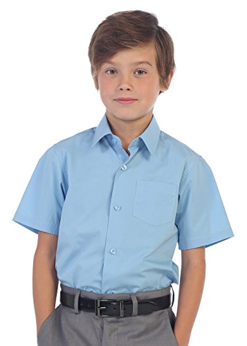 Gioberti Boy's Short Sleeve Solid Dress Shirt, Sky Blue, Size 5