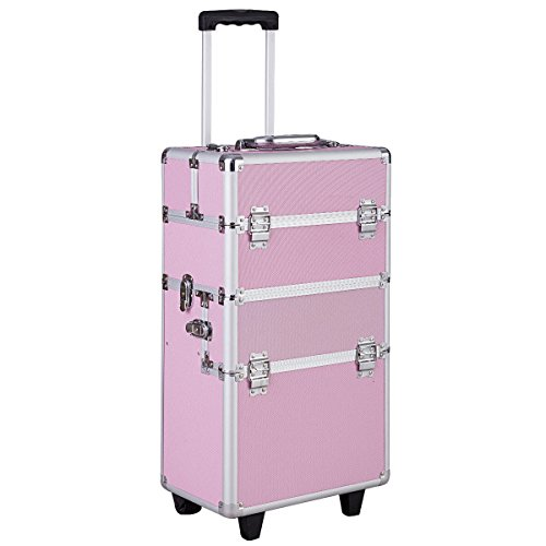 Giantex 3 in 1 Rolling Makeup Case Aluminum Salon Beauty Trolley Train Case Multifunctional Cosmetic Organizer with 2 Wheels (pink)