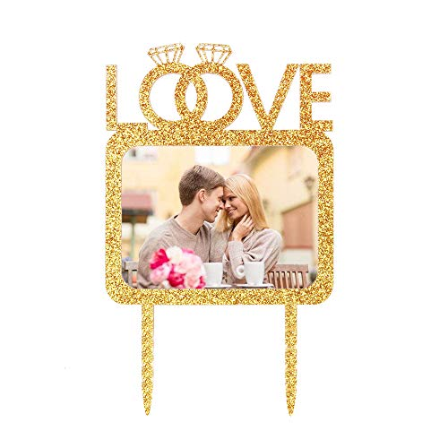 Love Double Diamond Rings Cake Topper with Photo Frame, Wedding Anniversary Engagement Photo Picture Cake Toppers, Party Cake Decoration