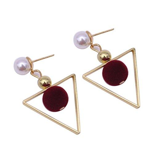 (Bohemian Earrings, Paymenow Clearance Women Girls Pearl Beaded Alloy Hollow Out Stud Earrings Fashion Drop Earrings (Red))