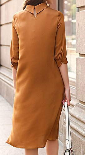 Seide Long Kleid Kleider Abendkleid Knee DISSA Gestreift Übergröße Damen S9967 Braun Cocktail AqO8IZ0w