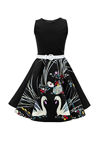 BlackButterfly Kids 'Audrey' Vintage Swan 50's Girls Dress (Black, 9-10 YRS) (Kids Black Dresses)