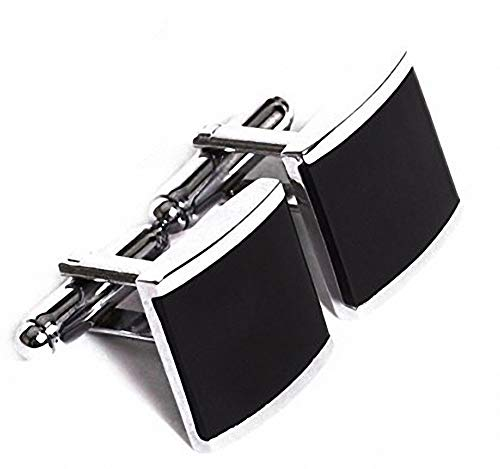 Sobly Stainless Steel & Black Enamel Onyx Square Cufflinks Shirt for Men Wedding Business