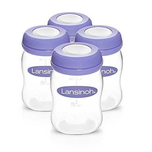 Lansinoh Breastmilk Storage Bottles, 4 Count (5 Ounce Each), Dishwasher Safe, Compatible With Any Lansinoh Pump & Naturalwave Nipple, Bpa & Bps Free