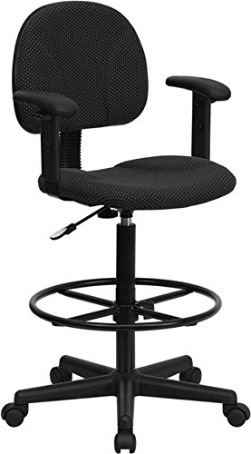 Black Patterned Fabric Ergonomic Drafting Stool w/Arms by Kisco Home