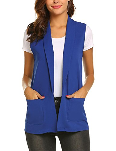 Aimado Women Vest Blazers Casual Solid Sleeveless Notched Collar Basic Waistcoat(Royal Blue,XX-Large) (Notched Collar Vest)