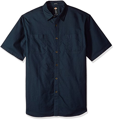 (Dickies Men's Relaxed Fit Solid Short Sleeve Shirt, Dark Navy L)