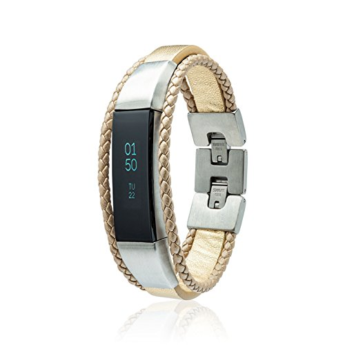 fitjewels Alta HR - Bands, Leather Replacement Band, Available in Black, Brown, Gold, Silver and Grey (Gold, M-L (6.5-7.5 inch)) by fitjewels