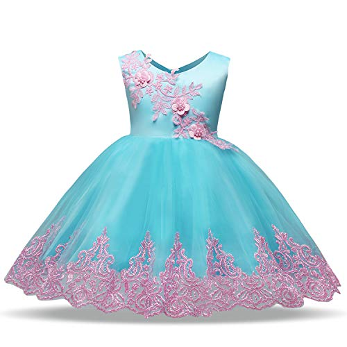 AIMJCHLD A Line Flower Girls Party Dress Tea Length Christmas Holiday First Communion Dresses Size 4T (Azure Blue, 110) ()