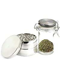 Want 4 Piece Zinc Grinder with Scraper and Free Glass Container and Free Carrying Bag for Spice Herb Pollen Weed Prana... lowestprice