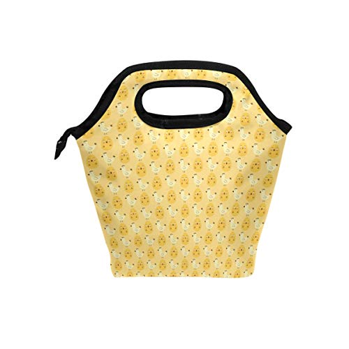 Fuiyi Miyi Insulated Lunch Box Orange Rooster Baby And Egg lightweight Reusable Picnic Lunch Tote Bag for Work and School