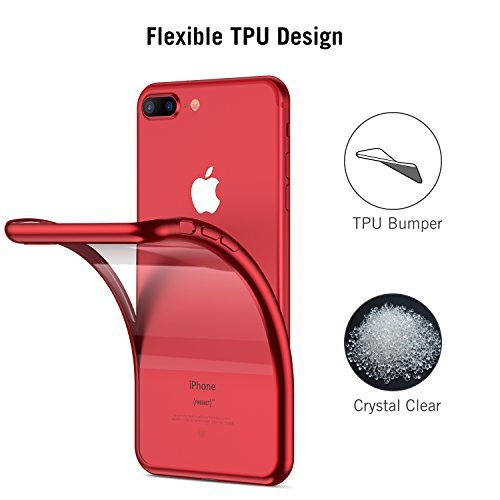 RANVOO iPhone 8 Plus Case, iPhone 7 Plus Case, Ultra Slim Thin Clear Soft Case with Premium Flexible Chrome Bumper and Transparent TPU Back Plate Gel Cover for iPhone 8 Plus / 7 Plus (Crystal Red)