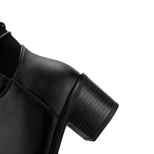 Allhqfashion Women's Soft Material Zipper Round Closed Toe Kitten Heels High-top Boots Black TSI788ev
