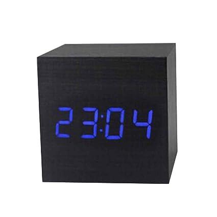 Gankmachine Reloj de Madera Moderno de Madera LED Digital Alarm Clock termómetro Timer Calendar Palabra Azul
