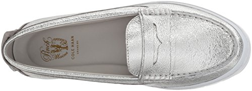 Cole Haan Donna Pizzico Weekender Lx Penny Mocassino In Pelle Lavata Argento