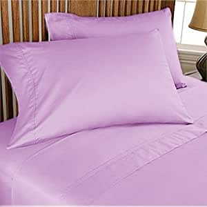 500 TC ULTRA SOFT SILKY 100% EGYPTIAN COTTON 4 PIECE LUXURIOUS SHEET SET TWIN XL LILAC SOLID BY PEARLBEDDING
