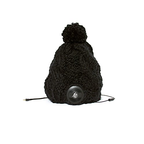 Earebel Black Hand Knitted Plait Bobble Hat Beanie with Built-In Black AKG Headphones, Criollo by Earebel powered by AKG