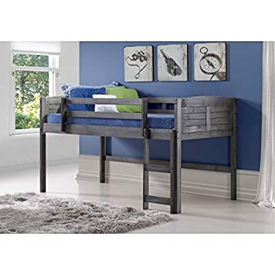 DONCO KIDS Louver Loft Bed, Twin, Antique Grey: Kitchen & Dining