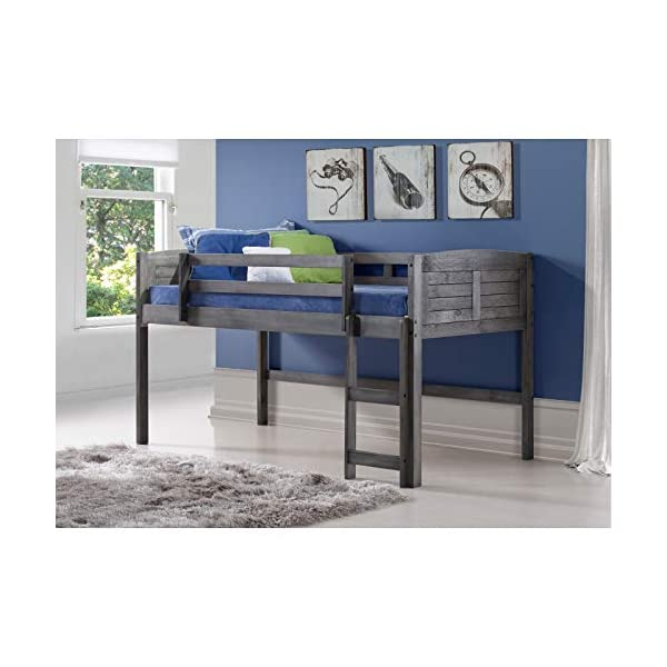 Donco Kids 790-AAG-750C-TB Louver Low Loft Bed with Blue Tent 2