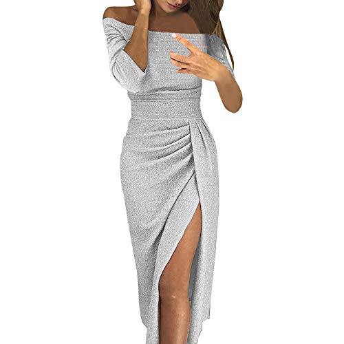 Fashion99 Women Off Shoulder High Slit Bodycon Dress Long Sleeve Sexy Dresses (Silver, ()