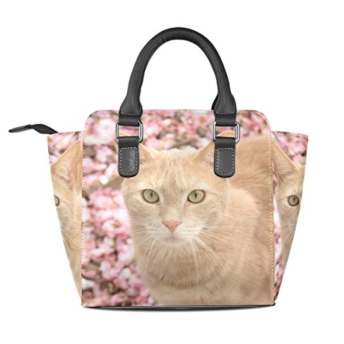 on Flowers Women's Cat Shoulder Leather Handbags Bags TIZORAX Tote Pink F56qf