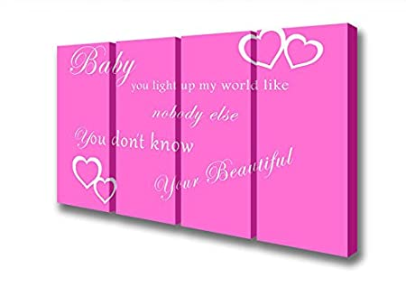 Four Panel Baby You Light Up My World 1d Vivid Pink Canvas Art