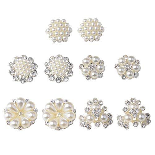 Fenteer 10pcs Beige Pretty Multifunction Pearl Crystal Flatback Ornaments Jewelry Making Embellishments Women Gifts Costume Decors for $<!--$4.39-->