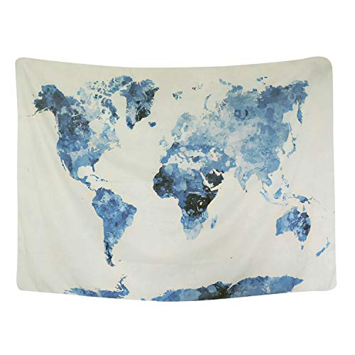 "BLEUM CADE Blue Watercolor World Map Tapestry Abstract Splatter Painting Tapestry Wall Hanging Art for Living Room Bedroom Dorm Home Decor 59""X51"""