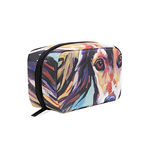 (Saluki Hound Cosmetic Bags Organizer- Travel Makeup Pouch Ladies Toiletry Case for Women Girls, CoTime Black Zipper)