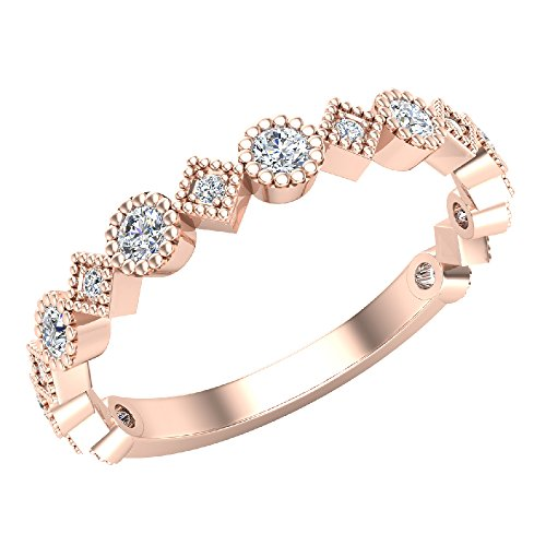 Stacking Circle and Squares Milgrain Round Cut Diamond Band Wedding Ring 0.32 carat total weight 14K Rose Gold (Ring Size 5.5) Milgrain Diamond Eternity Band
