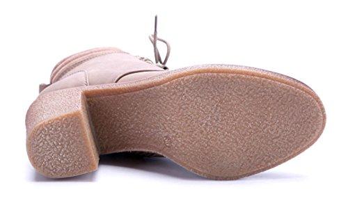 Schuhtempel24 Damen Schuhe Klassische Stiefeletten Stiefel Boots Blockabsatz 8 cm Khaki