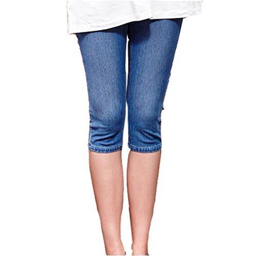 GIFTPOCKET Women's Low Rise Maternity Stretch Pencil Cropped Jeans Capri Pant, Light Blue, (US) L-(CN) XXL