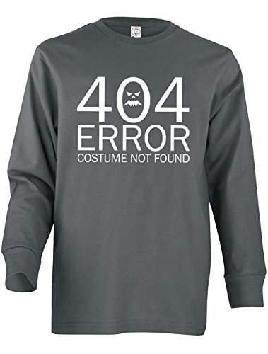 Dancing Participle Girl's Youth 404 Error Costume Not Found Long Sleeve T-Shirt, Small, Charcoal - 404 Error Costume Not Found Image