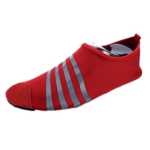 Aqua Socks Water Shoes Onda Nuotata Yoga Esercizio Sport Slip On Per Santimon Semplicemente Stripe Rosso