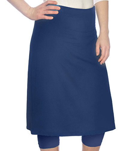 Kosher Casual Women's Knee Length Sports Skirt with Leggings - Mid-Weight Fabric - Large Navy by Kosher Casual