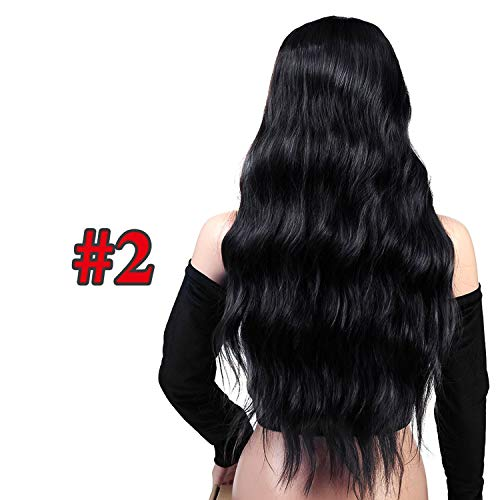 Minyu Wavy Hair Long Wigs With Bangs For Women Ladies Heat Resistant Black Blue Blonde Pink Green Gray Synthetic Wig-in Synthetic None,2,26inches]()