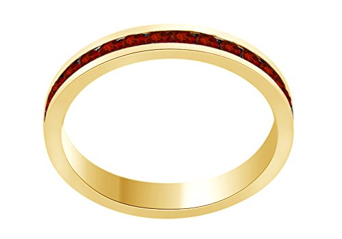 (AFFY Round Shape Simulated Garnet Full Eternity Band Ring in 14K Yellow Gold Over Sterling Silver, Ring Size: 10)