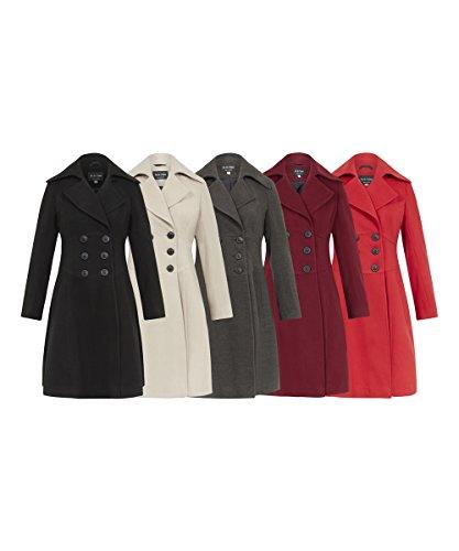 FEMMES Rouge chaud boutonnage La A LAINE touch Crme femmes Ligne double hiver manteau POUR nO8q1gOSR