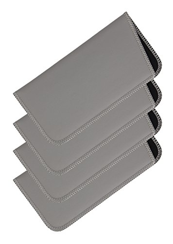 4 Pack Soft Slip In Eyeglass Case For Women And Men, Faux Leather, Medium, Gray