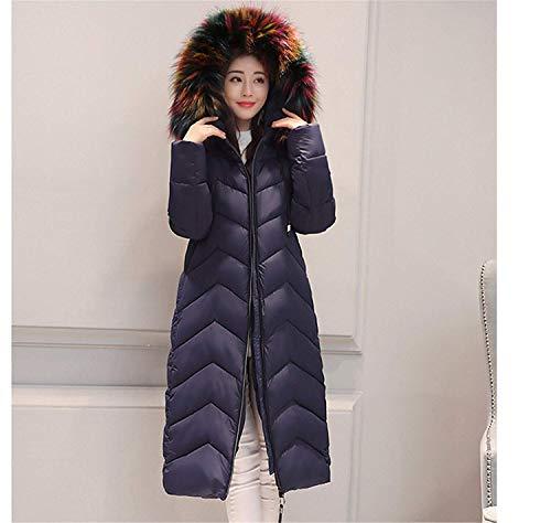 Addensare Parka Caldo Invernale In Lanceyy Fashion Lunghe Blau Piumini Con Donna P Cappuccio wBRUxqFnX
