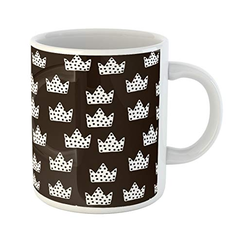 Semtomn Funny Coffee Mug Dot Black and White Childish Creative Nursery Crowns 11 Oz Ceramic Coffee Mugs Tea Cup Best Gift Or Souvenir