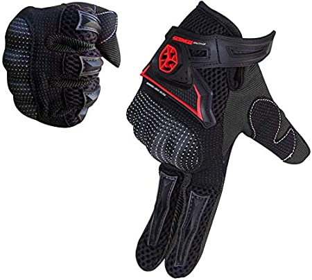 SCOYCO Screen Sensitive Carbon Fiber Shell Reinforced Knuckle Full Finger Anti-slip Grip Breathable Cycling Motorcycle Gloves BLACK,XL