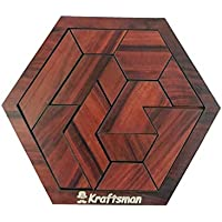 Golden Feather Portable Wooden Hexagon Puzzle | 11 Pieces Puzzle for Kids and Adults | Travel Pouch Included