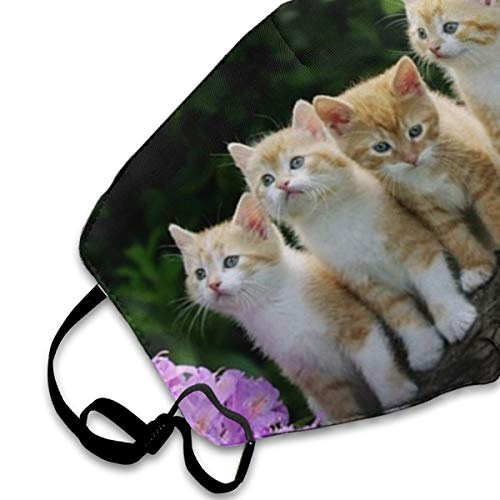 Cute Kitten And Purple Flowers Art Print PM2.5 Mask, Adjustable Warm Face Mask Unique Cover Filters Blocking Pollen Pollution Germs£¬Can Be Washed Reusable Pollen Masks Cotton Mouth Mask For Men Women