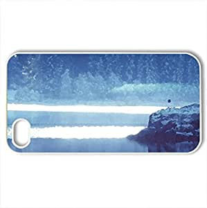 Blue Winter - Case Cover for iPhone 4 and 4s (Lakes Series, Watercolor style, White)