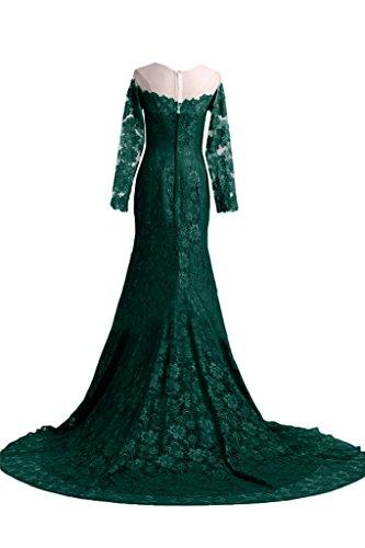 Festkleid Promkleid Lang Partykleid Ivydressing Schleppe Aermel Spitze Abendkleid Ballkleid Dunkelgruen Damen Elegant ZxqBO8